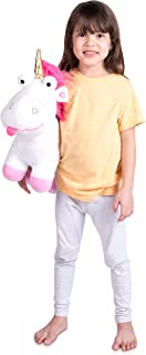 Universal Despicable Me Fluffy Unicorn Character Shaped Soft Plush Cuddle Pillow, White/Pink