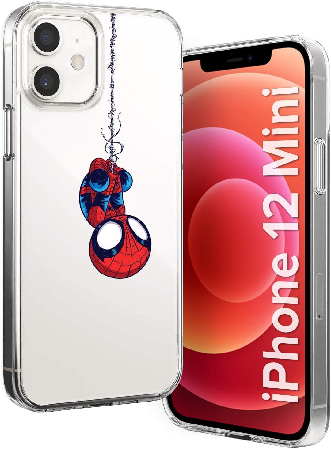Litech Spider Man Case [Flexfit] Protective Clear Cartoon Comic Super Hero Case for Apple iPhone 12 Mini (2020)