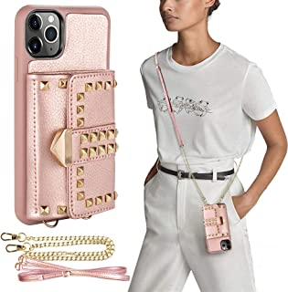 iPhone 11 Pro Max Wallet Case, ZVE iPhone 11 Pro Max Case with Credit Card Holder Slot Crossbody Strap Rivet Design Wallet...