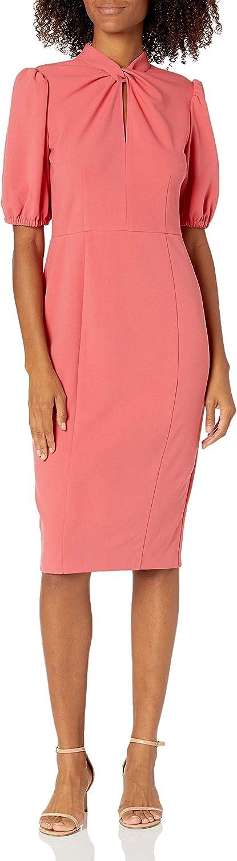 Donna Morgan Women's Short Puff Sleeve Dress Twist Ranking TOP14 Neck Sheath Mail order w