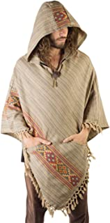 Handmade Mens Poncho Mocca Brown Cashmere Wool with Large Hood and Pockets Jungle Primitive Gypsy Festival Mexican Tribal Embroidered Celtic Earthy Winter Tibetan AJJAYA Wild …