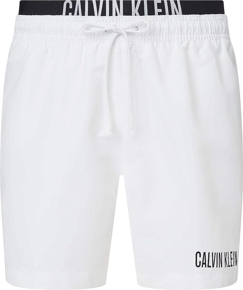 Calvin klein medium double wb, costume a pantaloncino per uomo,100% poliestere KM0KM00552B