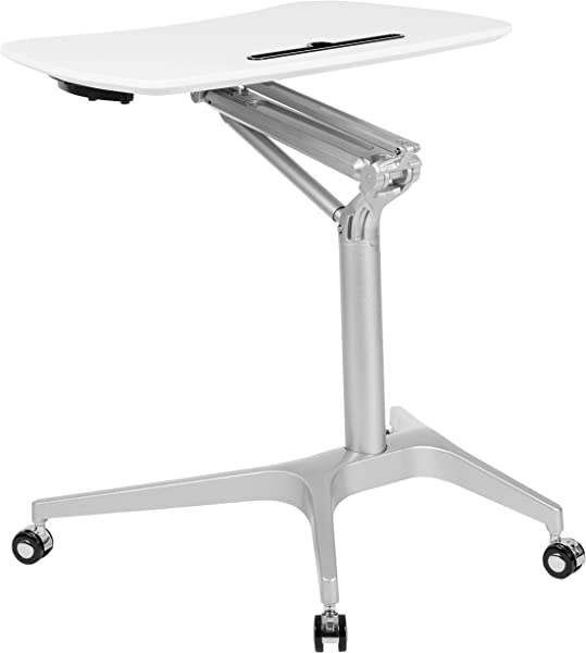 Flash Furniture Mobile Sit Down Stand Up White Computer Ergonomic Desk With 28 25 W Top Adjustable Range 29 41