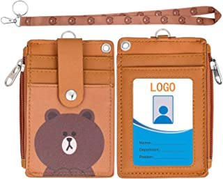 【2019 Upgreded】Badge Holder with Zipper,HASFINE Cute Id Badge Holder Wallet Leather Credit Card Holder Zipper Wallet with Lanyard, 2 Sided 5 Card Slots and Key Chain for Boys Girls Office Staff Women