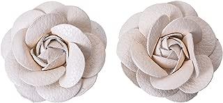 Douqu Faux Leather Rose Flower Winter Boots Wedding Sandals Black Shoe Clips Pair (White)