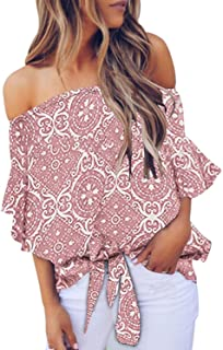 Asvivid Womens Casual Off The Shoulder Ethnic Floral...