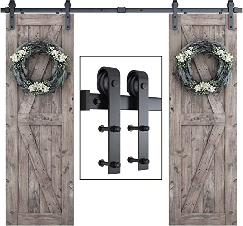 """discount SmartStandard 8FT One-Piece Track Double Sliding Barn Door Hardware Kit - Smoothly and Quietly - Easy to Install -Includes Step-by-Step online Installation Instruction - popular Fit 48"""" Split Door Panel (J Shape) online sale"""