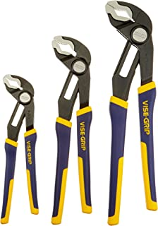 IRWIN Tools VISE-GRIP GrooveLock Pliers, V-Jaw, 3-Piece Set (2078710)