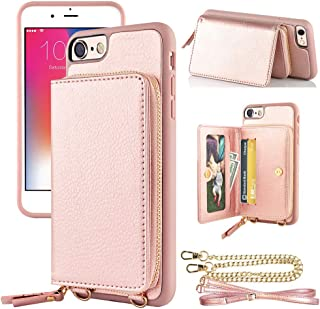 LAMEEKU Zipper Wallet Case for iPhone SE 2nd Generation/7/8, Credit Card Slots Case with Crossbody Chain Wrist Strap Leather Card Holder Case, for iPhone 8/7/SE .7''-Rose Gold