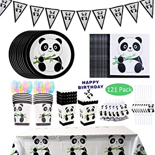 DreamJ 121Pcs Panda Party Supplies, Panda Disposable Tableware Set with Panda Plates Cups Napkins Straws Panda Banner Tablecloth Popcorn Boxes Cake Topper Dragon Blowing For Baby Shower Birthday Decorations