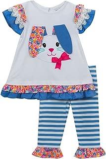 Girls' Easter Bunny Appliqued Pant Set