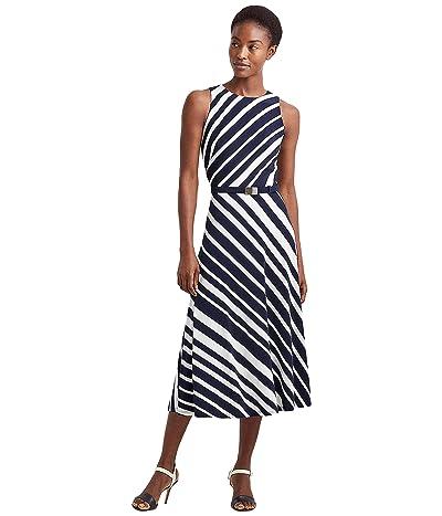 LAUREN Ralph Lauren Striped Belted Jersey Dress