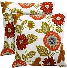 أغطية وسائد الزينة من Onelong - مجموعة من 2-100% قطن، تصميم مطرز بالزهور على خلفية بيضاء صلبة طبيعية للأريكة، أريكة، سرير...