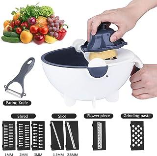 Jeslon Cortador de verduras, 11 en 1, multifunción, mandolina con cesta de drenaje, cortador de verduras, cortador de verduras y frutas con pelador