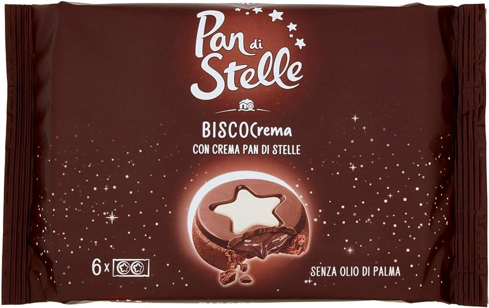 Pan di stelle biscocrema, biscotti al cacao e nocciola con crema, copertura di cioccolato e crema,168 gr