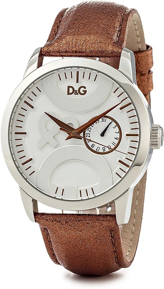 Dolce & gabbanatwin tip, orologio da uomo,in acciaio inossidabile e cinturino in vera pelle 100% DW0700