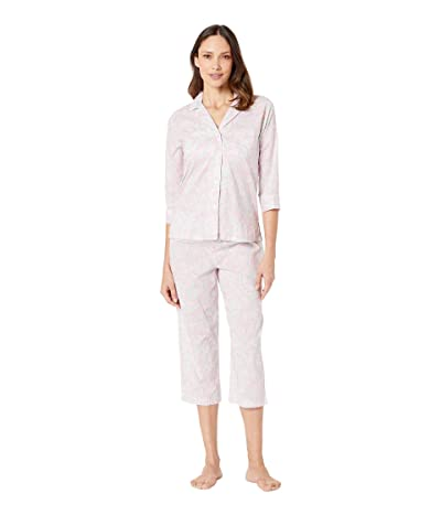 LAUREN Ralph Lauren 3/4 Sleeve Pointed Notch Collar Capri Pants Pajama Set (Pink Paisley Print) Women