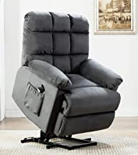 ANJ Power Lift Recliner Chair for Elderly with Over Stuffed Armrest and Comfort Broad Backrest, Remote Control for Gentle Motor, Bluish Grey