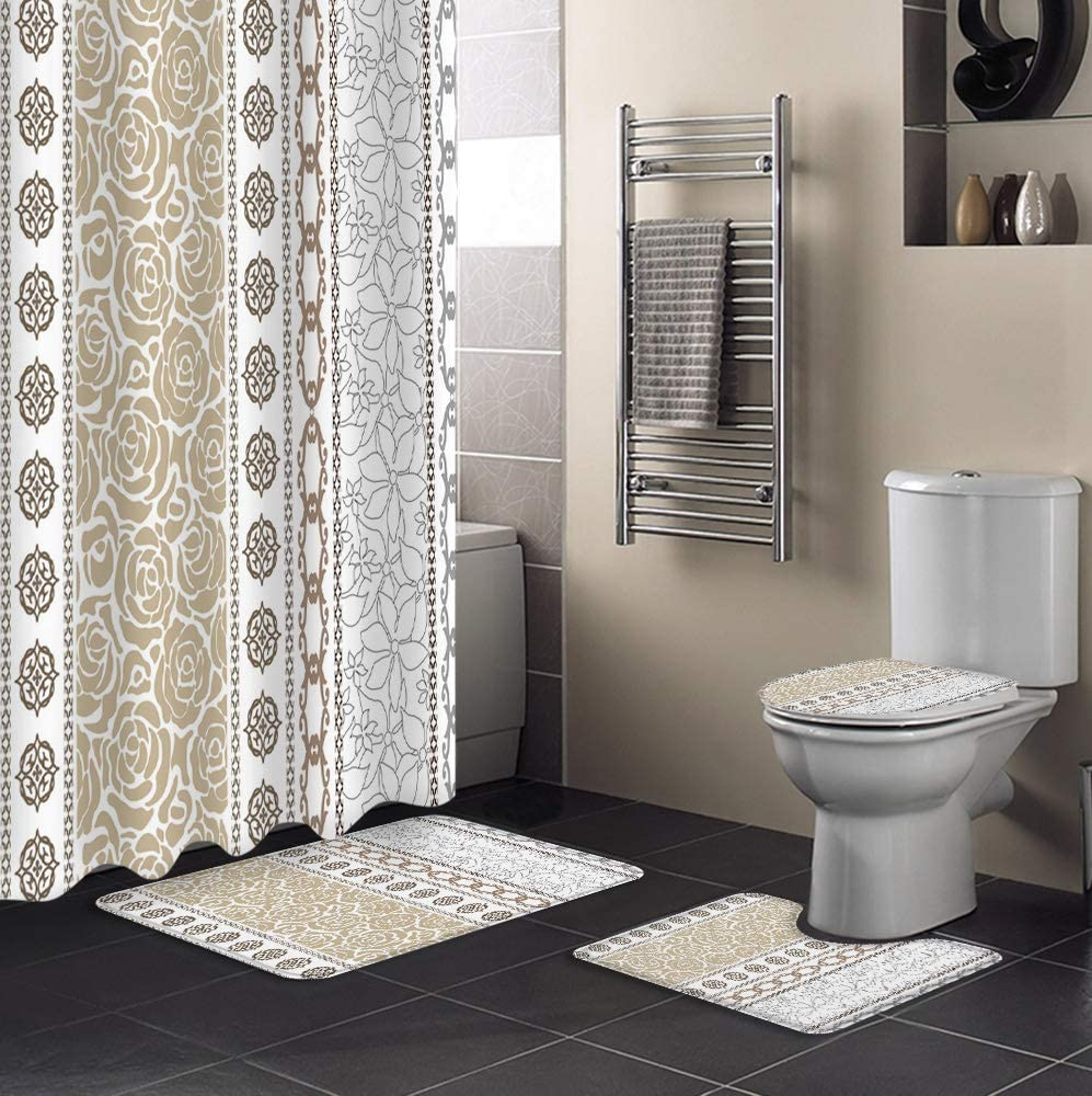 MUSEDAY 4 Piece Shower Curtain Set Lid Toilet Rug Directly managed National uniform free shipping store Non-Slip with