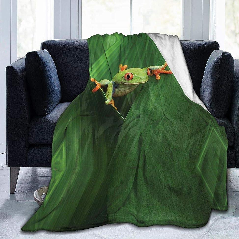 クリップ蝶サイズモバイルひざ掛け 毛布 ブランケット アカメアマガエル 大判 ふわふわ 厚手 シングル 暖かい 柔らかい 膝掛け 携帯用 車用 オフィス用 防寒対策 冷房対策 お昼寝 通年用 洗える