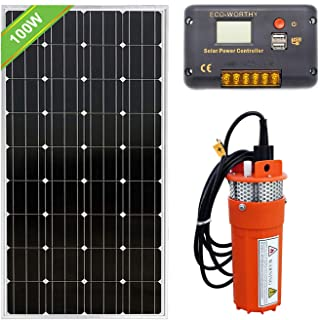 Fisters 12V Submersible Pump + 1pc 100W Solar Panel + 20A Charge Controller Solar Water Pump Kit