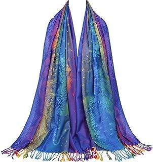 Colorful flowers Jacquard cotton pashmina Women Winter warm Wrap Shawl tassels Scarves