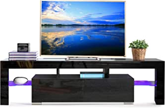 SUNCOO TV Stand Media Console Cabinet LED Shelves with 2 Drawers for Living Room Storage High Gloss Black for up to 72-inch TV Screens