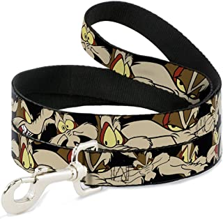 "Buckle-Down Pet Leash - Wile E. Coyote Expressions Black - 4 Feet Long - 1/2"" Wide"