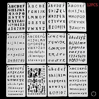 PRAMY 12ピースアルファベットステンシル、アルファベットテンプレート、レターステンシル、テンプレートレター、グラフィックアートステンシル、描画ツール、製図用品、ルーラーブレスレット