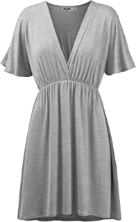 Lock and Love Women's Airy Short Sleeve Kimono Style Deep V Neck Dress Top S-3XL Plus Size-Made in U.S.A.