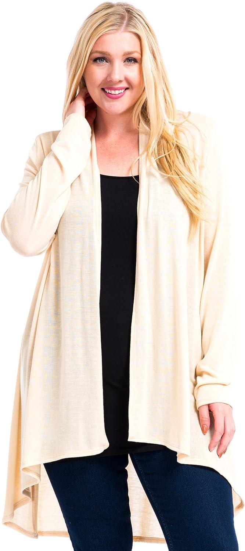 Modern Kiwi Women's Plus Size Solid Essential Long Cascading Cardigan (1X-3X)