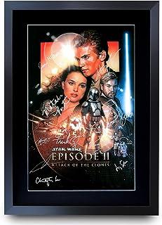 HWC Trading A3 FR Star Wars Episodio II Attack of The Clones The Cast Hayden Christensen Natalie Portman Gifts Póster Impreso con autógrafo para los Fans de la película, Enmarcado A3