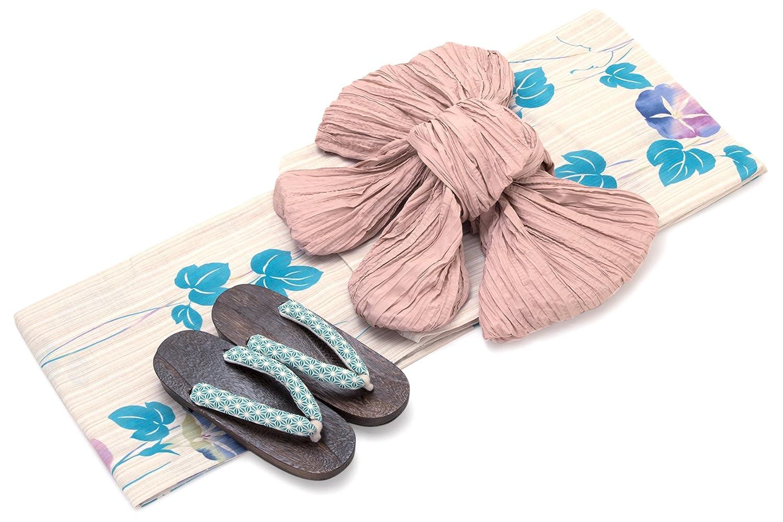 レディース浴衣セット[浴衣/兵児帯] bonheur saisons 薄茶色 ベージュ 水色 ブルー 紫色 ピンクベージュ 朝顔 あさがお 花 綿麻 浴衣セット 女性 フリーサイズ