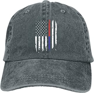 Men's/Women's Adjustable Cotton Denim Baseball Cap Police and Firefighter Thin Blue Line Line Flag Trucker Cap
