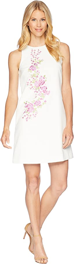 Tahari by ASL Embroidered Crepe Trapeze Dress