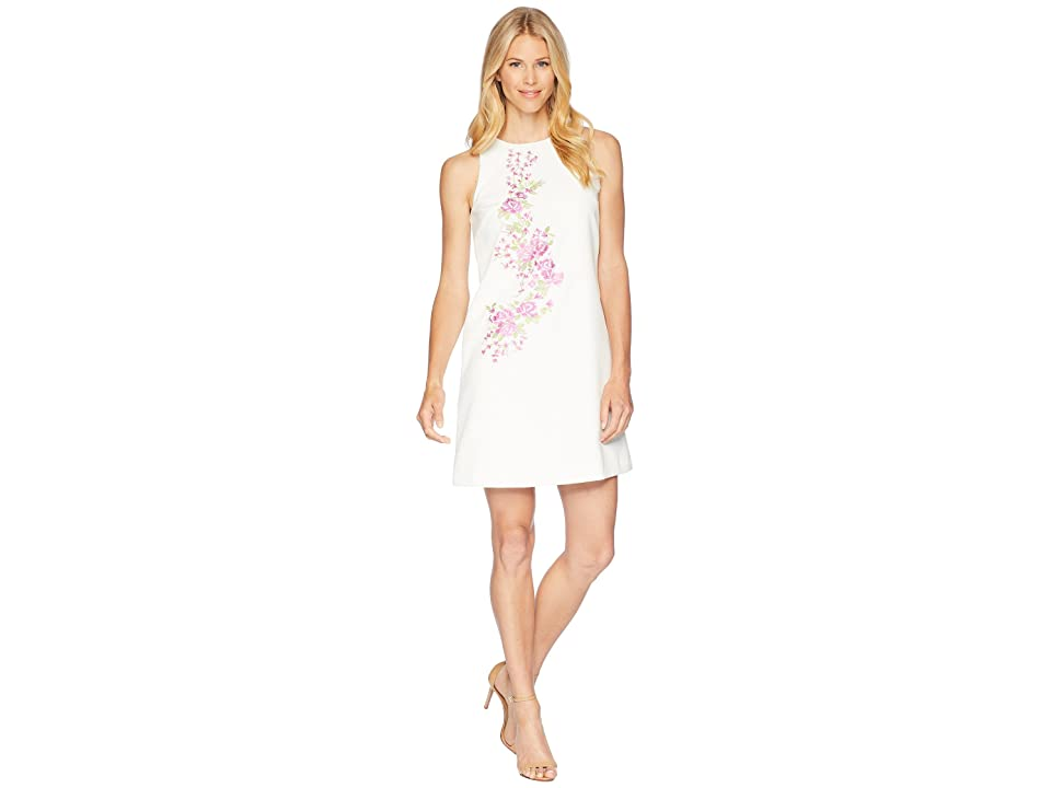 Tahari by ASL Embroidered Crepe Trapeze Dress (Ivory/Orchid/Green) Women