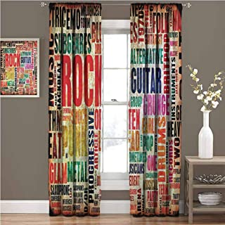 GUUVOR Music 99% Blackout Curtains Music Rock n Roll Poster for Bedroom Kindergarten Living Room W84 x L108 Inch