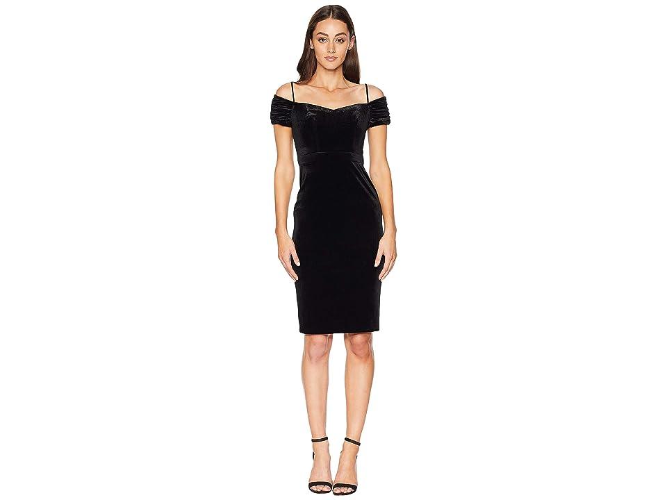 Laundry by Shelli Segal Velvet Off the Shoulder Cocktail Dress (Black) Women