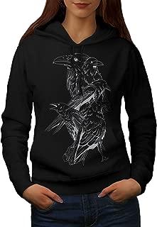 Four Scary Raven Womens Hoodie, Crow Birds Hooded Sweatshirt