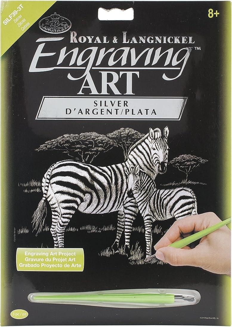 ROYAL BRUSH SILVFL-39 Silver Foil Engraving Art Kit, 8-Inch by 10-Inch, Zebras