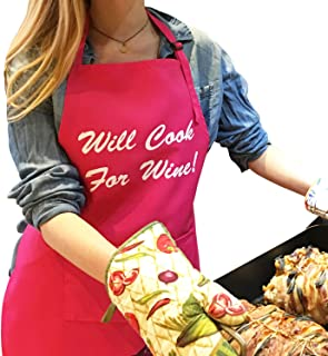 Lifestyle Banquet Funny Aprons for Women in Hot Pink - Will Cook for Wine Aprons for