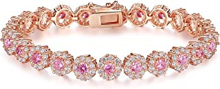 Classic Luxury Rose Gold Plated Bracelet with Sparkling Cubic Zirconia Stones for Women Gift for Her