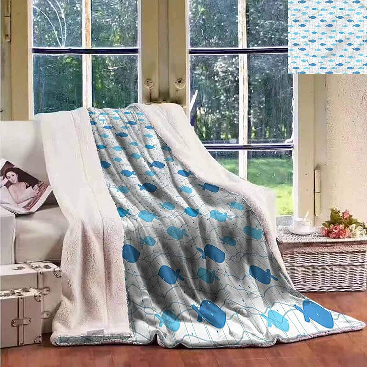 Sunnyhome Winter Quilt Fish Geometric Net Design Dots Personalized Baby Blanket W59x31L