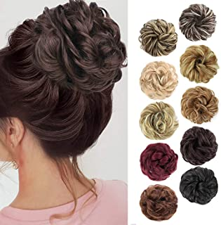MORICA 1PCS Messy Hair Bun Hair Scrunchies Extension Curly Wavy Messy Synthetic Chignon for women Updo Hairpiece (8#(Mediu...
