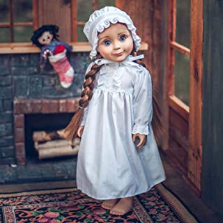 The Queen's Treasures Officially Licensed Little House on The 18 Inch Doll Prairie Sleepwear Doll Cloths Outfit. Full Length Nightgown and Nightcap Compatible with American Girl Dolls.
