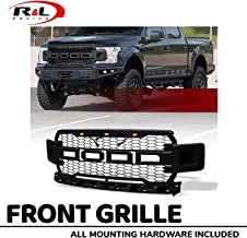 R&L Racing Matte Black RP Honeycomb Mesh Front Grill Grille with 3 Amber LED 2018-2019 for F150