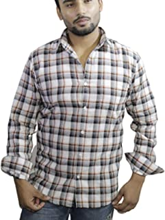 Spanish One Look Mens Casual Long Sleeve 100% Cotton Regular Fit Button Down Casual Shirts Dress in White Printed Check Shirt for Men