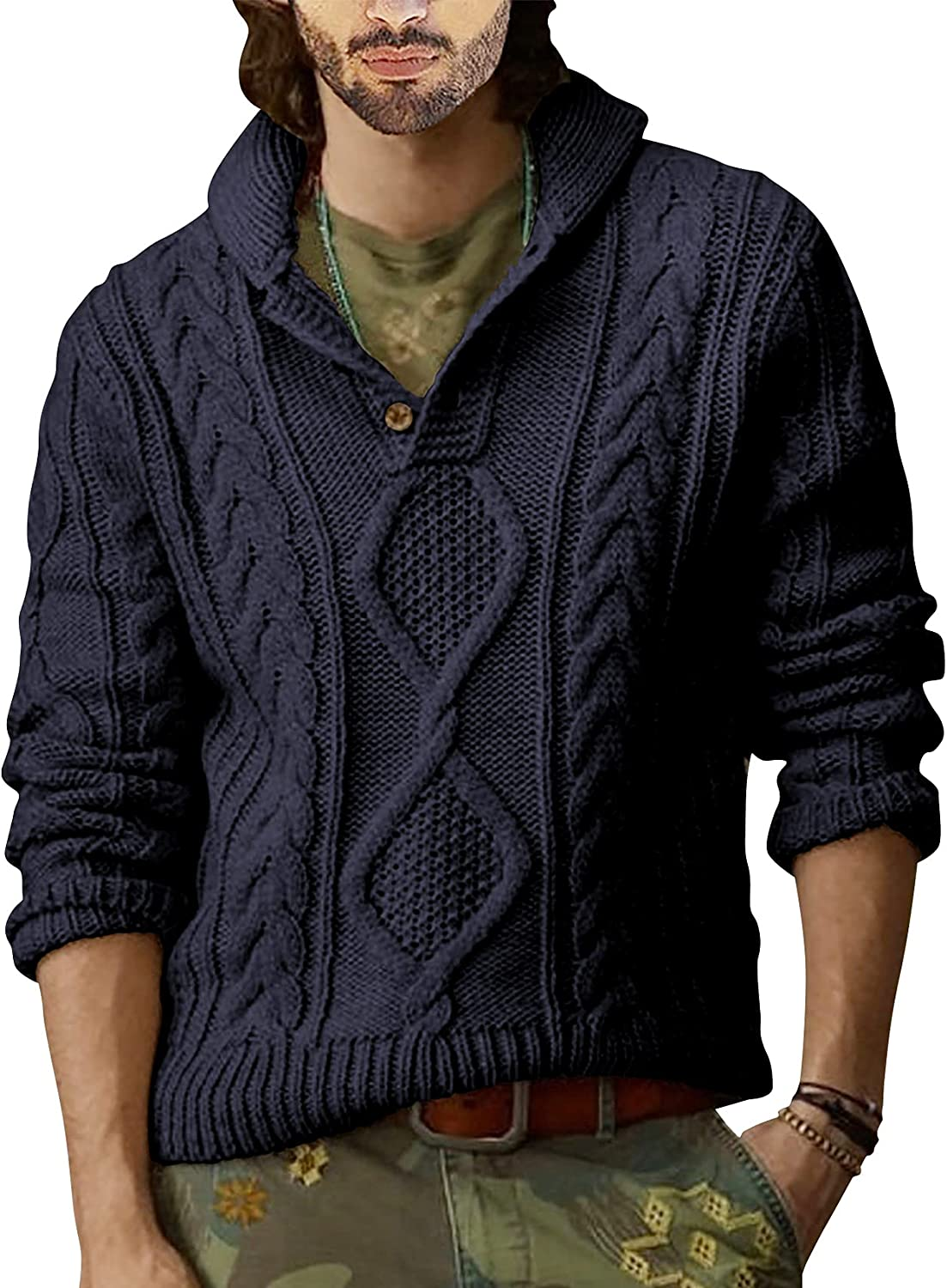 Runcati Mens Shawl Collar Pullover Sweater Cable Knitted Cotton Slim Fit Ribbed Chunky Winter Thermal Twisted Sweaters