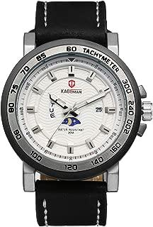 Avaner Men's Japanese Quartz Wrist Watch with Moon Phase Day Night Indicator Week Date Calendar Black Leather Strap Analog Display Fashion Watch
