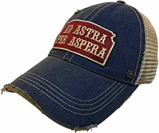 State of Kansas Motto Ad Astra Per Aspera Retro Brand Vintage Mesh Adj Hat Cap